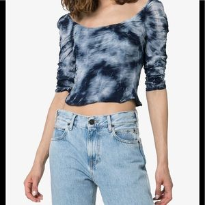 Miaou Blue White Tie Dyed Madeline Crop Top Size M